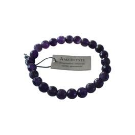 Bracelet Améthyste Perles rondes facettées