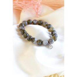 Bracelet en perles rondes de labradorite 10 mm