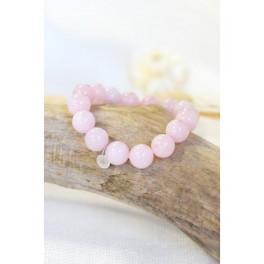 Bracelet Quartz Rose Perles rondes 12 mm
