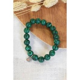 Bracelet en perles rondes de malachite 10 mm