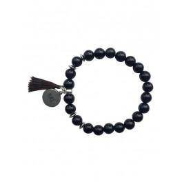 Bracelet en perles rondes d'obsidienne noire