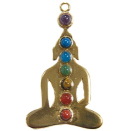 Pendentif yogi 7 chakras doré Yogi en métal doré à l'or